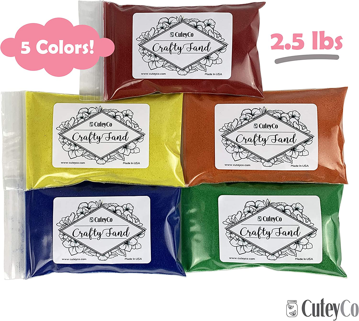 14 Colors CuteyCo Crafty Sand Pack 15 lbs of Vibrant Craft Sand /& Play Sand