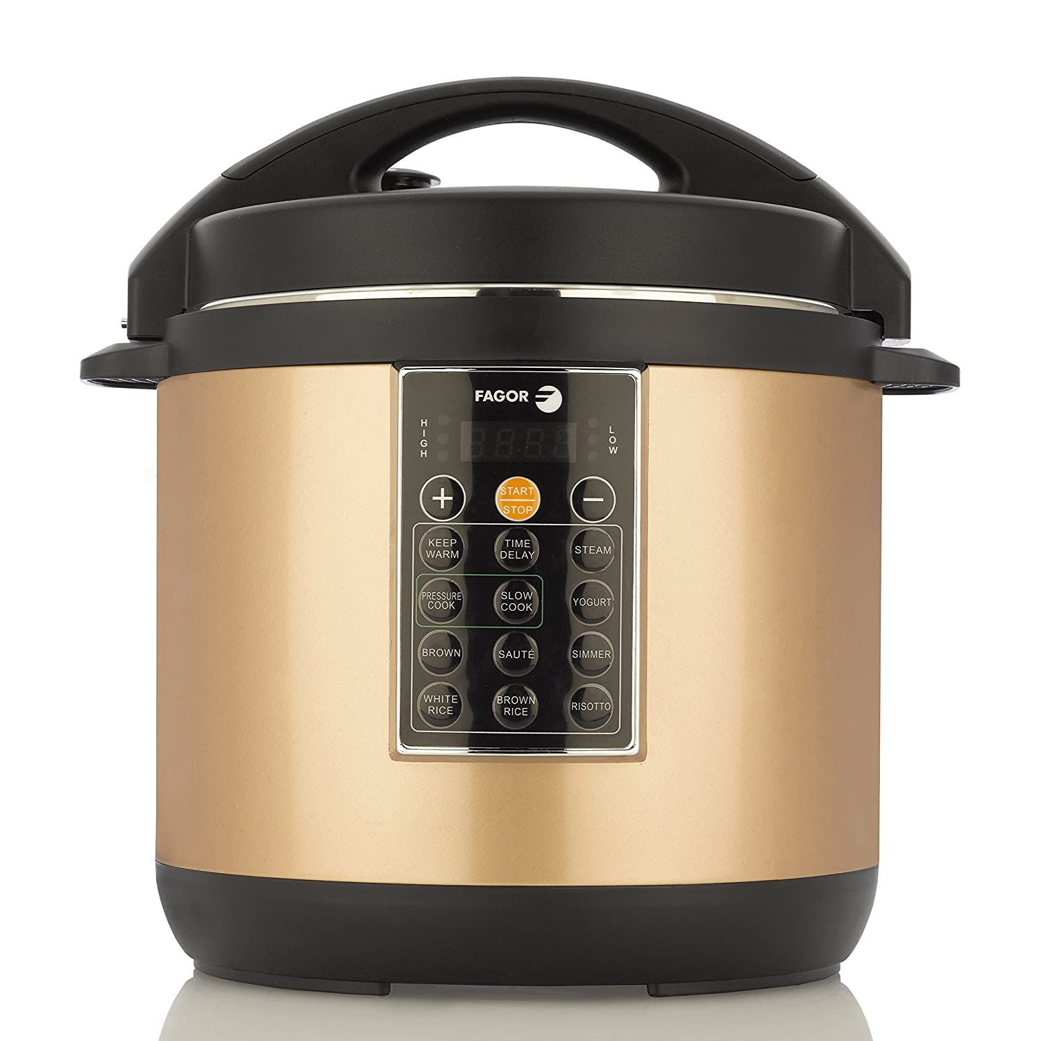 Amazon.com: Fagor LUX Multi-Cooker, 6 quart, Electric Pressure Cooker, Slow  Cooker, Rice Cooker, Yogurt Maker and more, Copper - 935010052: Kitchen &  Dining