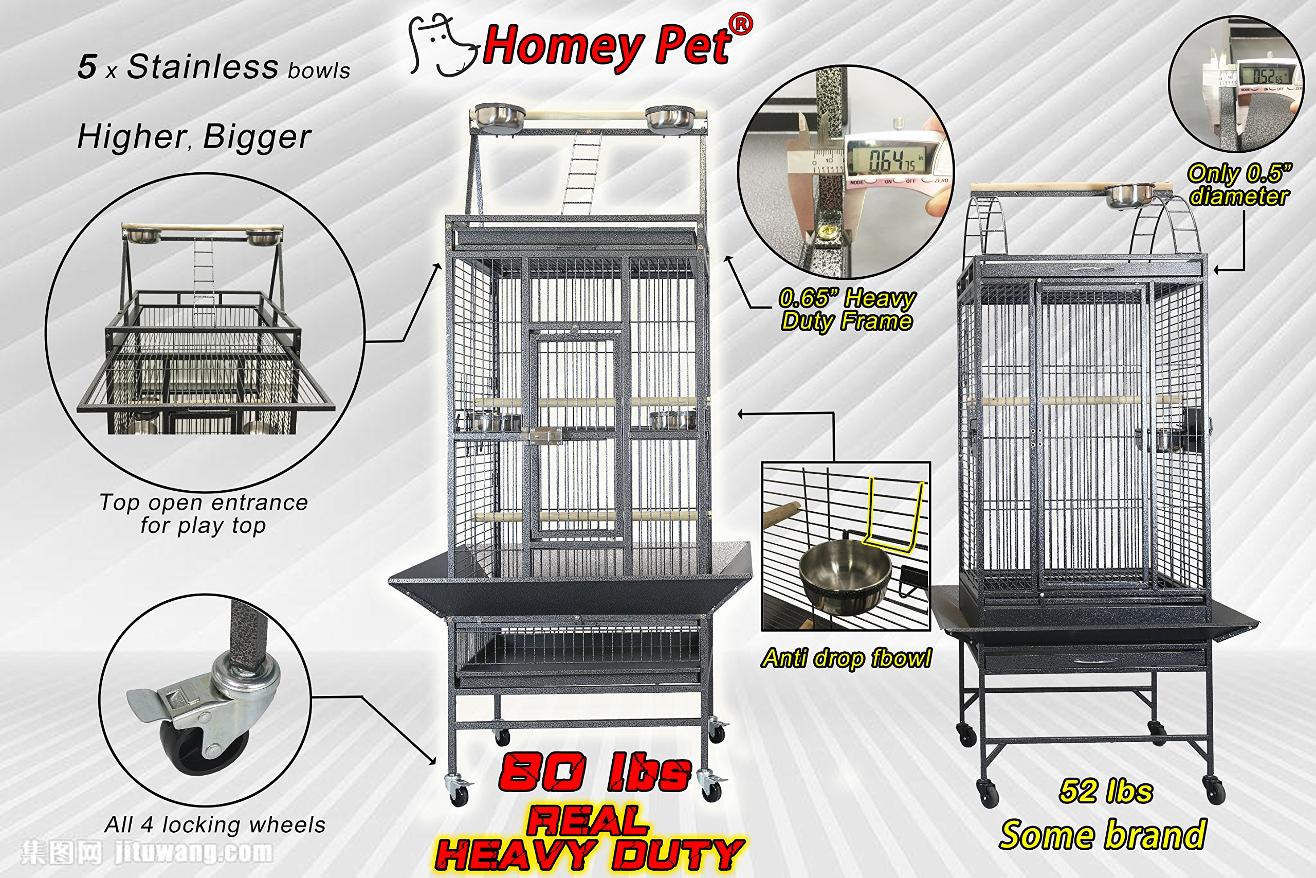 Homey Pet NEW REVISED Parrot Finch Cage with Play-top, Macaw Cockatoo, L22'' x W24'' x H66''-Seed Catcher:31'' x 33''