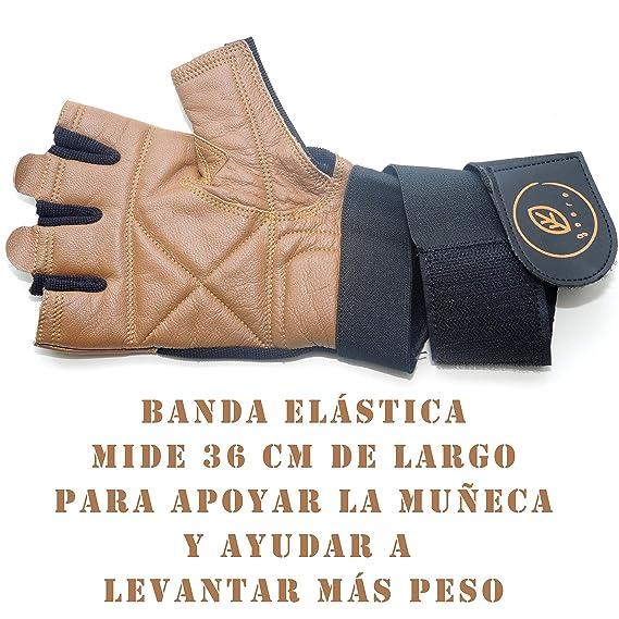 Guantes Acolchados de Cuero auténtico para Levantamiento de Pesas con Soporte de muñeca: Amazon.es: Deportes y aire libre