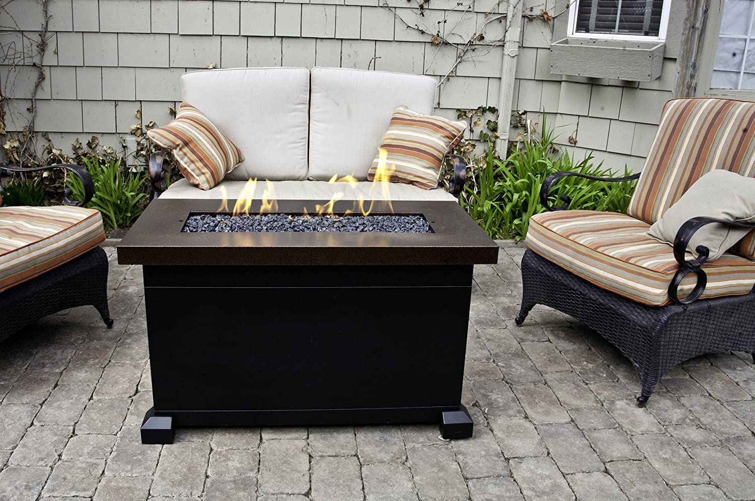 Wonderful Amazon.com : Camp Chef FP40 Monterey PropaneFire Pit Table With Fire Glass  U0026 Lid Included, Copper Color : Outdoor Fireplaces : Patio, Lawn U0026 Garden