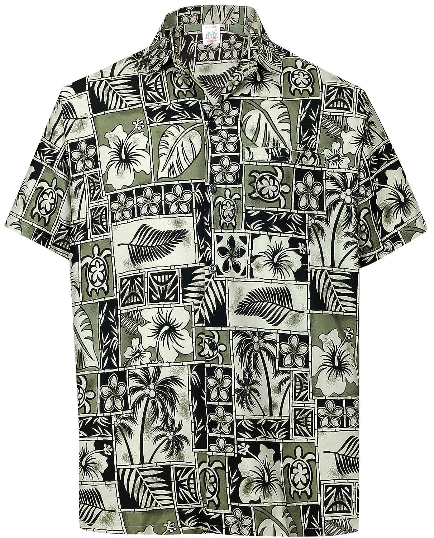 LA LEELA botón Abajo de Camisa Casual Hawaiano de Las Hombre