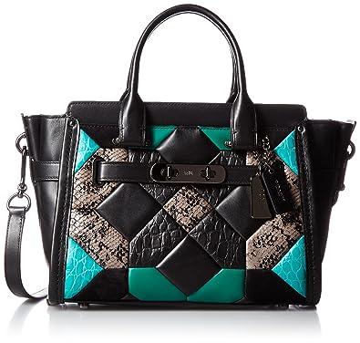 Amazon.com  COACH Women s Canyon Quilt Exotic Coach Swagger 27 DK Black  Turquoise Satchel  Shoes a5d4f39ca6