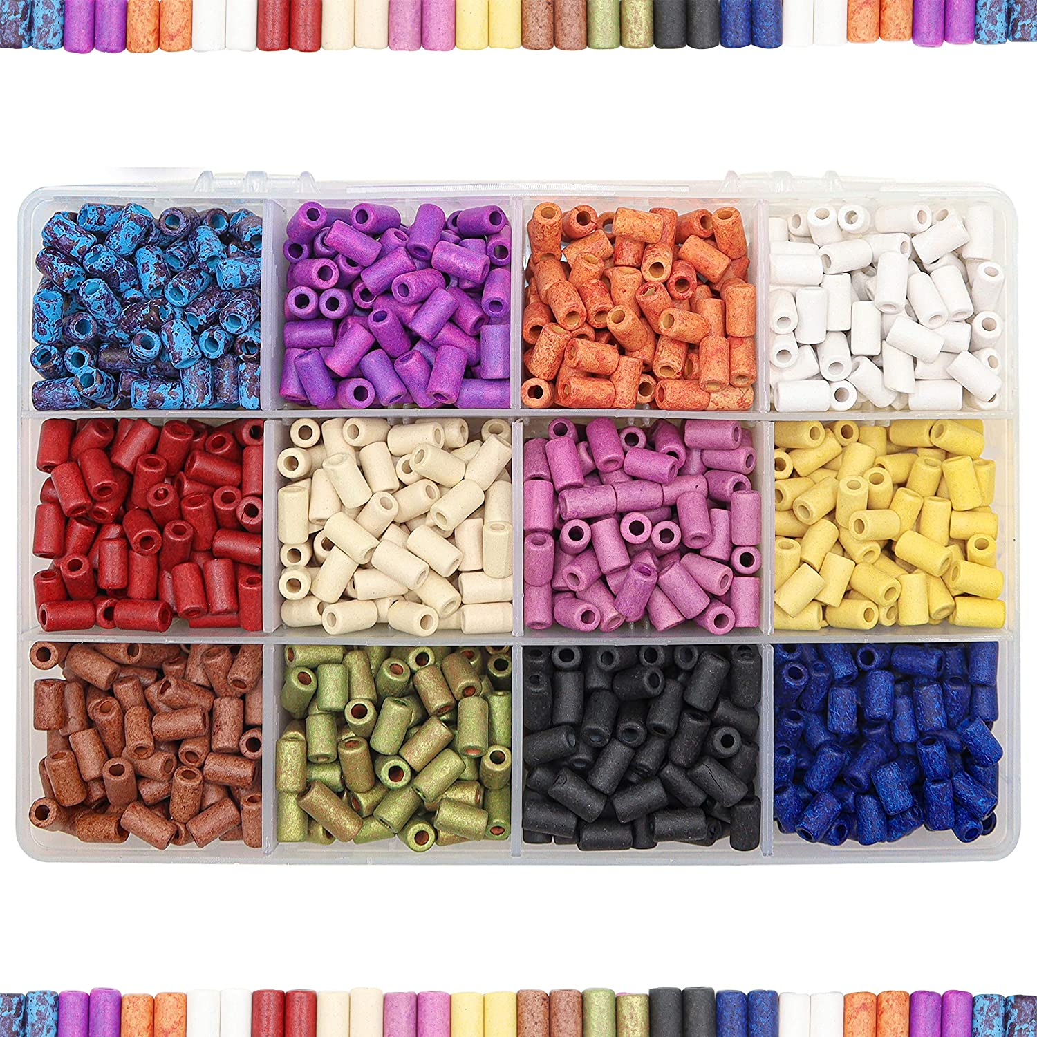Greek glazed tube beads for jewelry making Blue and Pink ceramic bead findings 35x12mm Large ceramic tube beads
