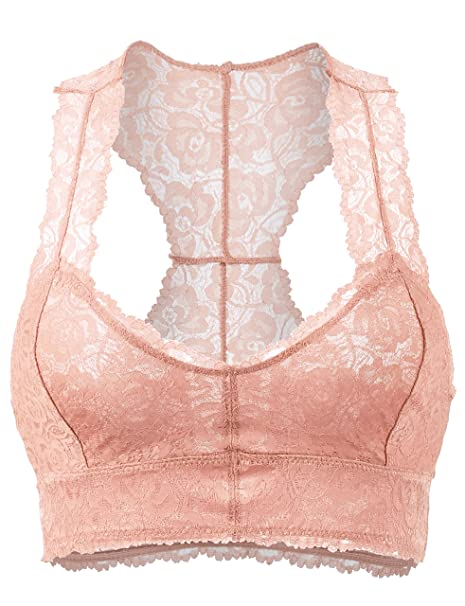 ce8757e7b677f BEKDO Womens Supersoft Sexy Sheer Racerback Lace Pullover Bralette-S M-Blush