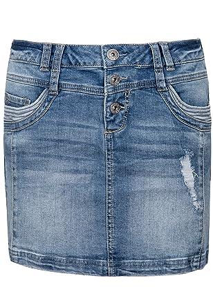 f080a78f92dd Sublevel Damen Jeans Mini-Rock mit Knöpfen im Used Look