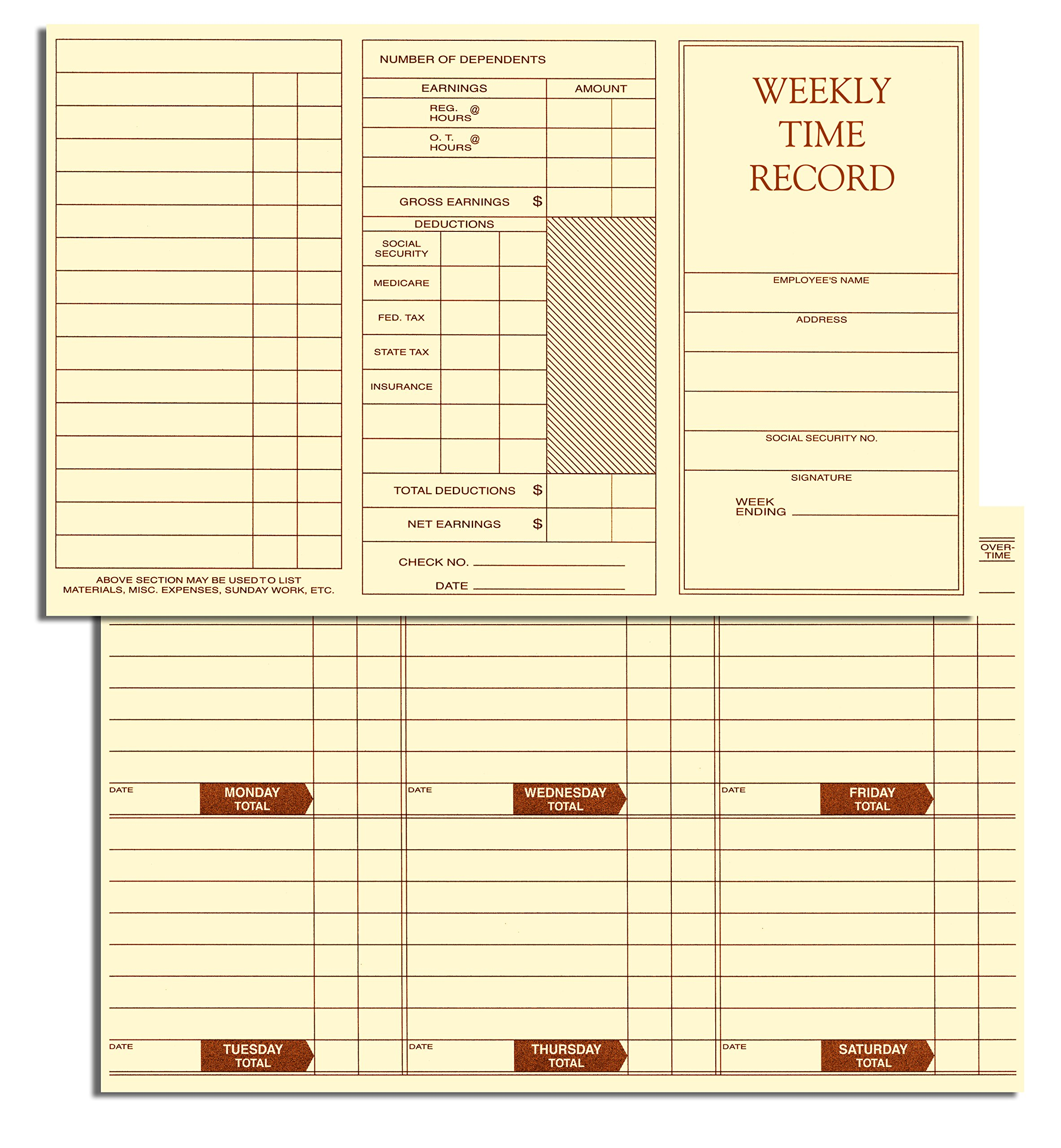 Weekly Employee Pocket Size Time Cards