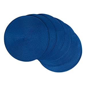 """DII, Classic Round Placemats, Woven, Set of 6, 15"""" Diameter, Nautical Blue"""