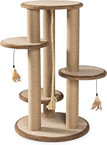 Prevue Pet Products Kitty Power 37 in. Paws Multi-Platform Posts with Tassel Toys