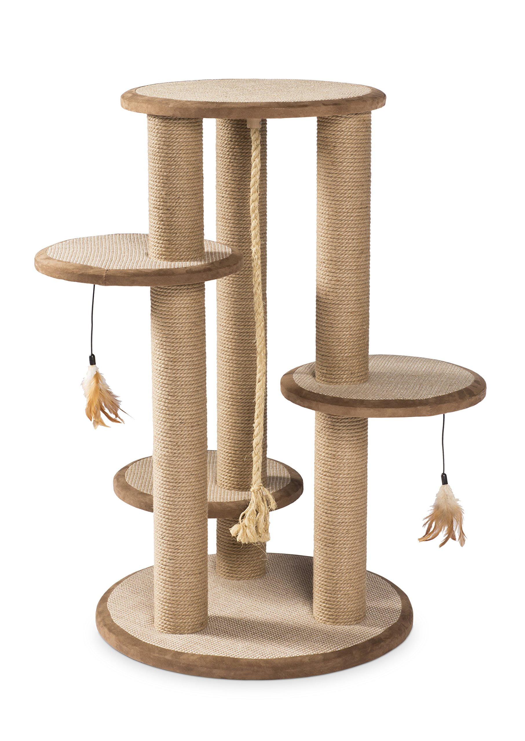 Prevue Pet Products Kitty Power Paws Multi-Platform Posts with Tassel Toys, Natural