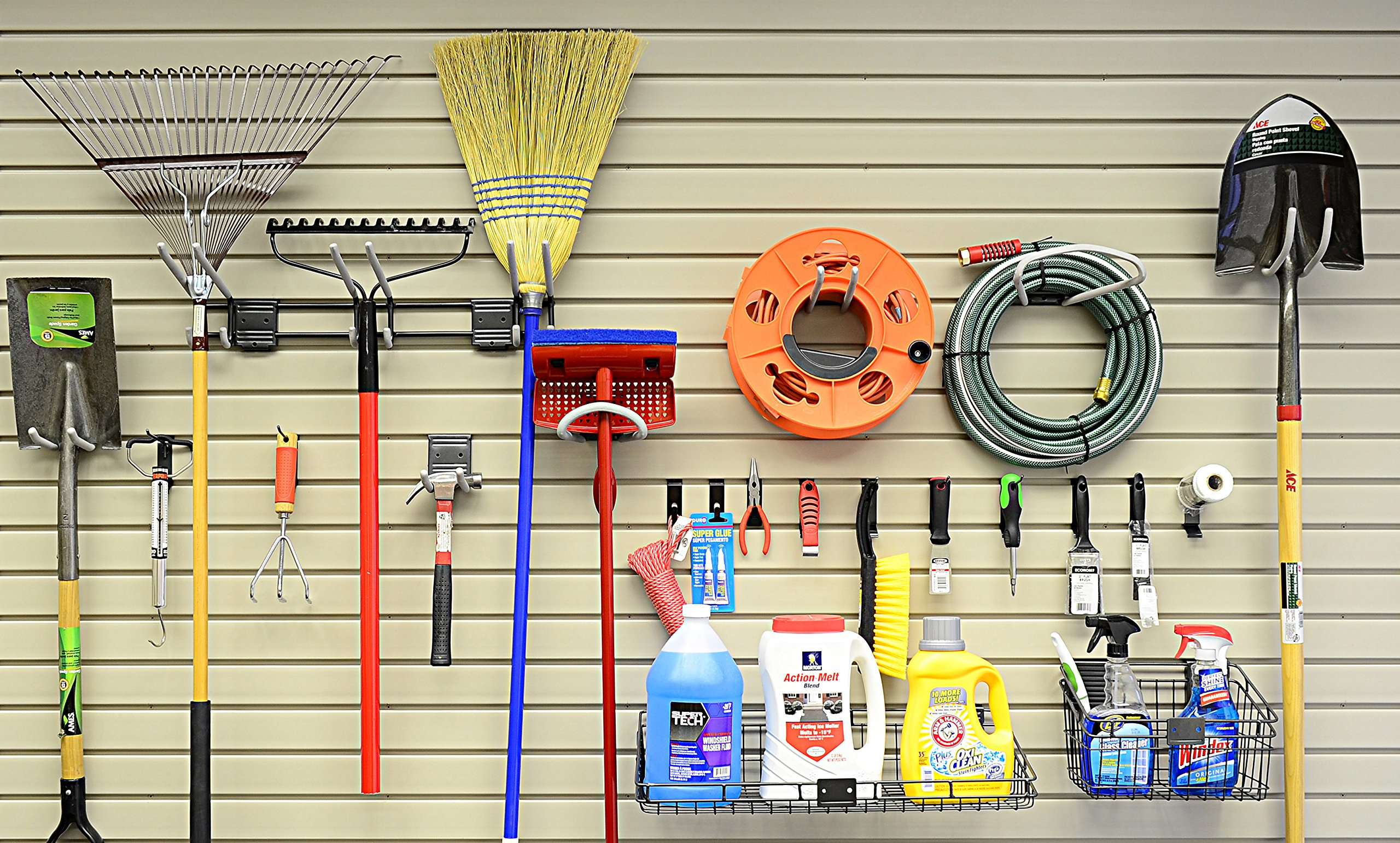 HandiWall Basic Accessory Kit With 21 Hooks, Baskets, and Shelves for Garage Slatwall Panels by HandiSolutions