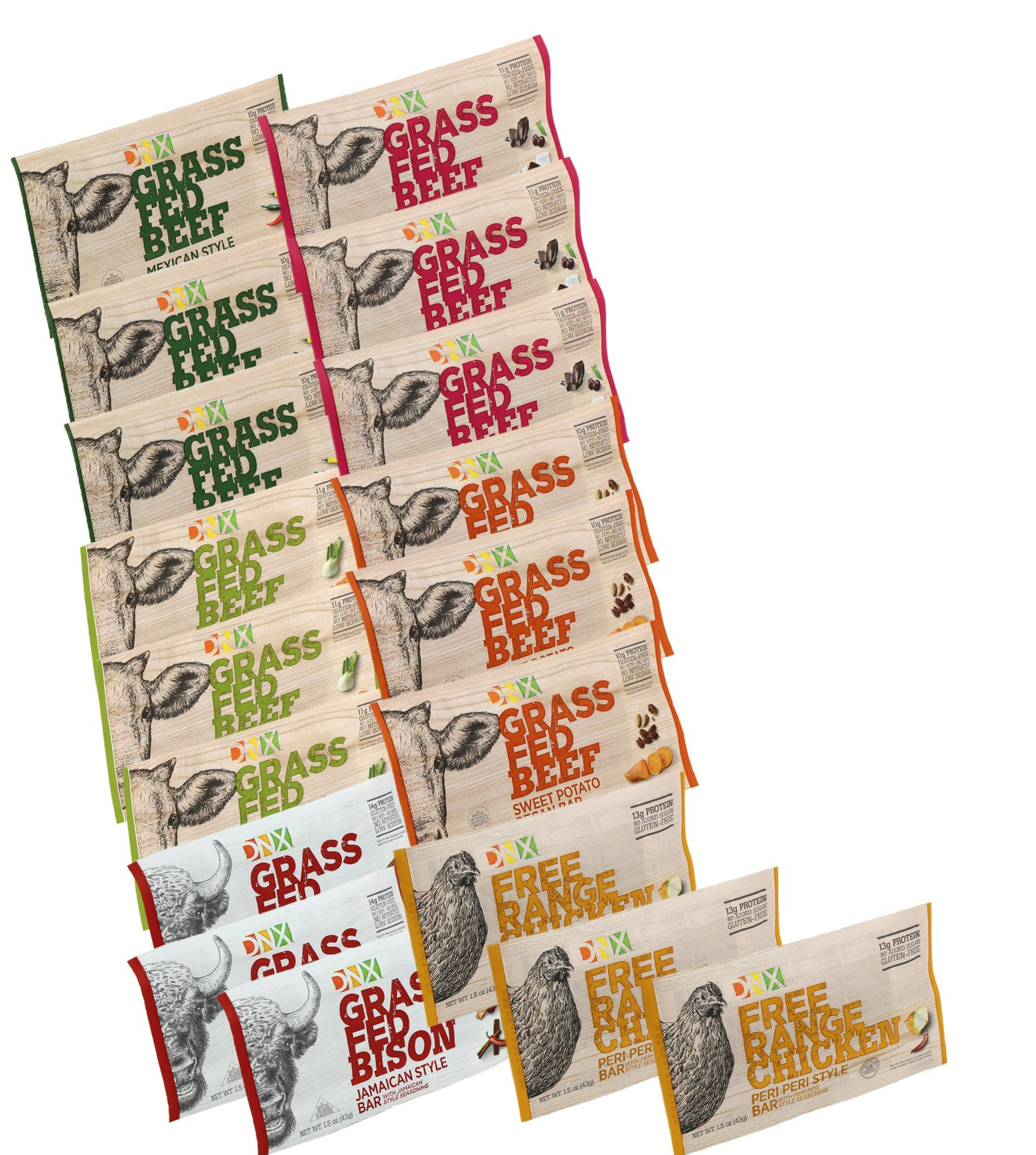 DNX Bar 18 Bar Variety Pack.Grass Fed Beef & Bison-Free Range Chicken Paleo Protein Bars Whole30 Approved, Organic Ingredients, Gluten Free, A Truly Epic Bar (18 Bars)