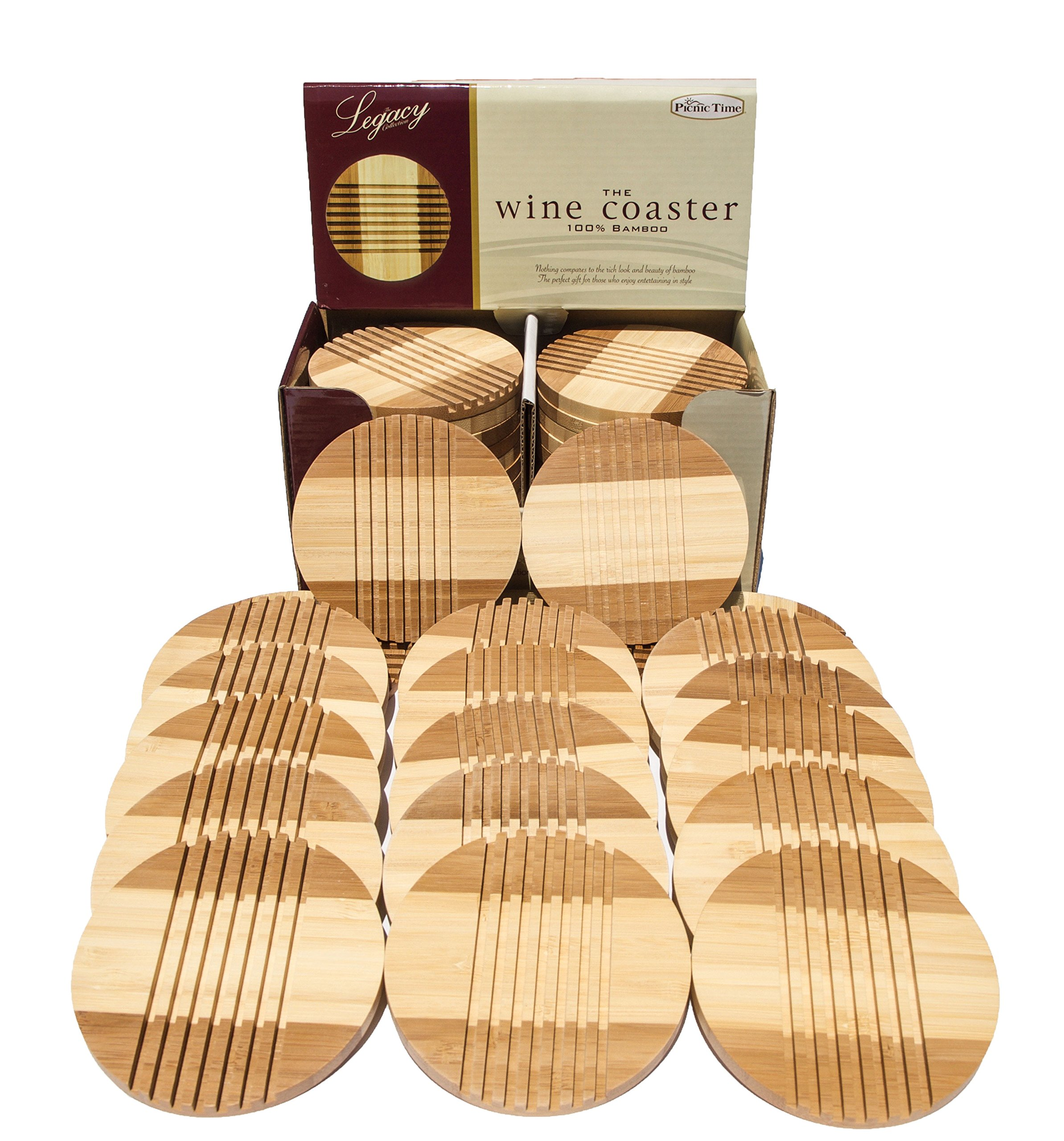 Picnic Time Bamboo Coasters, Beautiful, Entertaining Tabletop Wine and Hot and/or Cold Beverage Coasters (24)