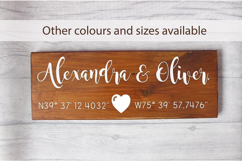 Wedding coordinates sign, rustic couple name wedding sign.