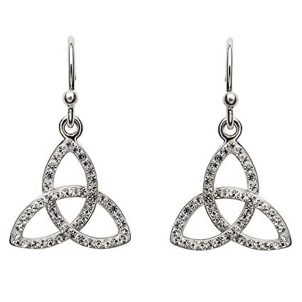 71a3fdfd0 Amazon.com: Hallmarked Sterling Silver Trinity Knot Earrings With Swarovski  Crystals: Toys & Games