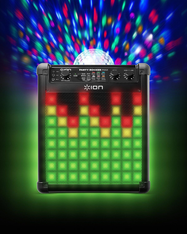 ION Audio Party Rocker Max - Altavoces de Fiesta de 100 Vatios y Centro de Karaoke con Batería Recargable Incorporada, Pantalla de Luz de Fiesta Domo, ...