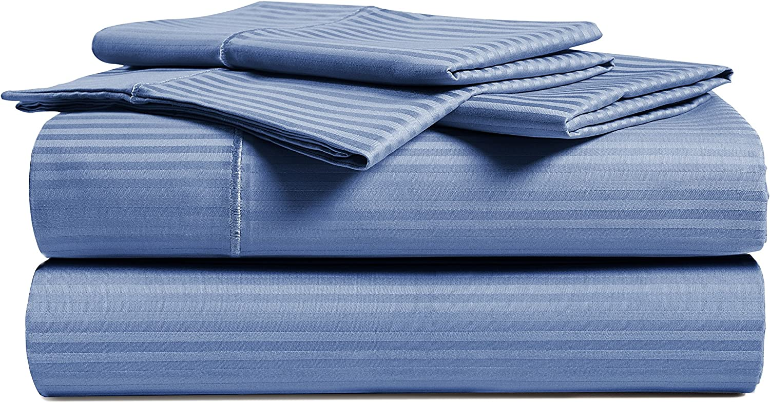 Amazon Com Chateau Home Collection 100 Combed Cotton 4 Piece Sheet Set 500 Thread Cotton 16 Inch Deep Pockets Fits Upto 18 Mattresses Executive Stripe Hotel Luxury Soft Comfort Bed Bedding Full Blue Kitchen