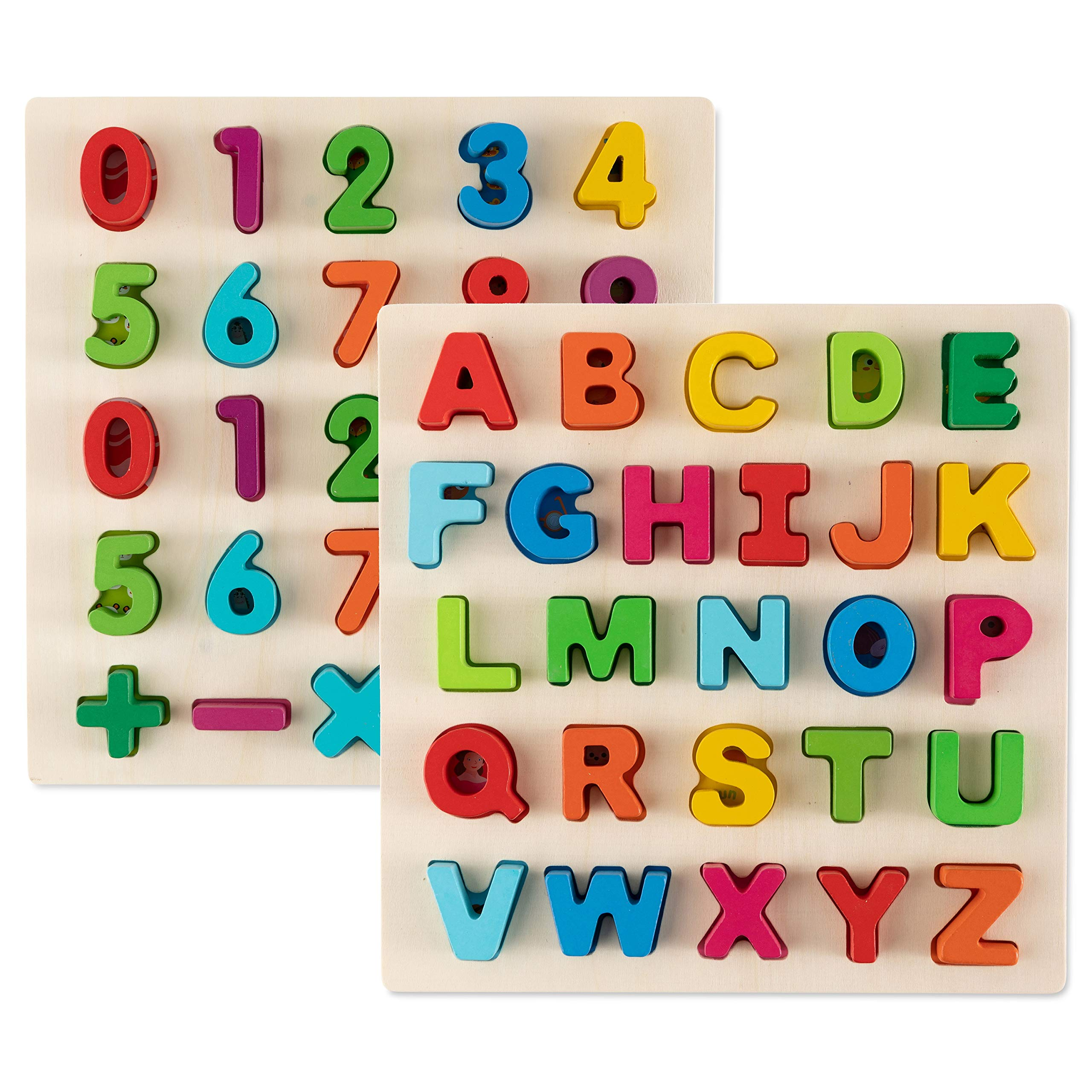 Toy To Enjoy Alphabet Puzzles - Wooden Upper Case Letter and Number Learning Board Toy - Ideal for Early Educational Learning for Kindergarten Toddlers & Preschools by Toy To Enjoy