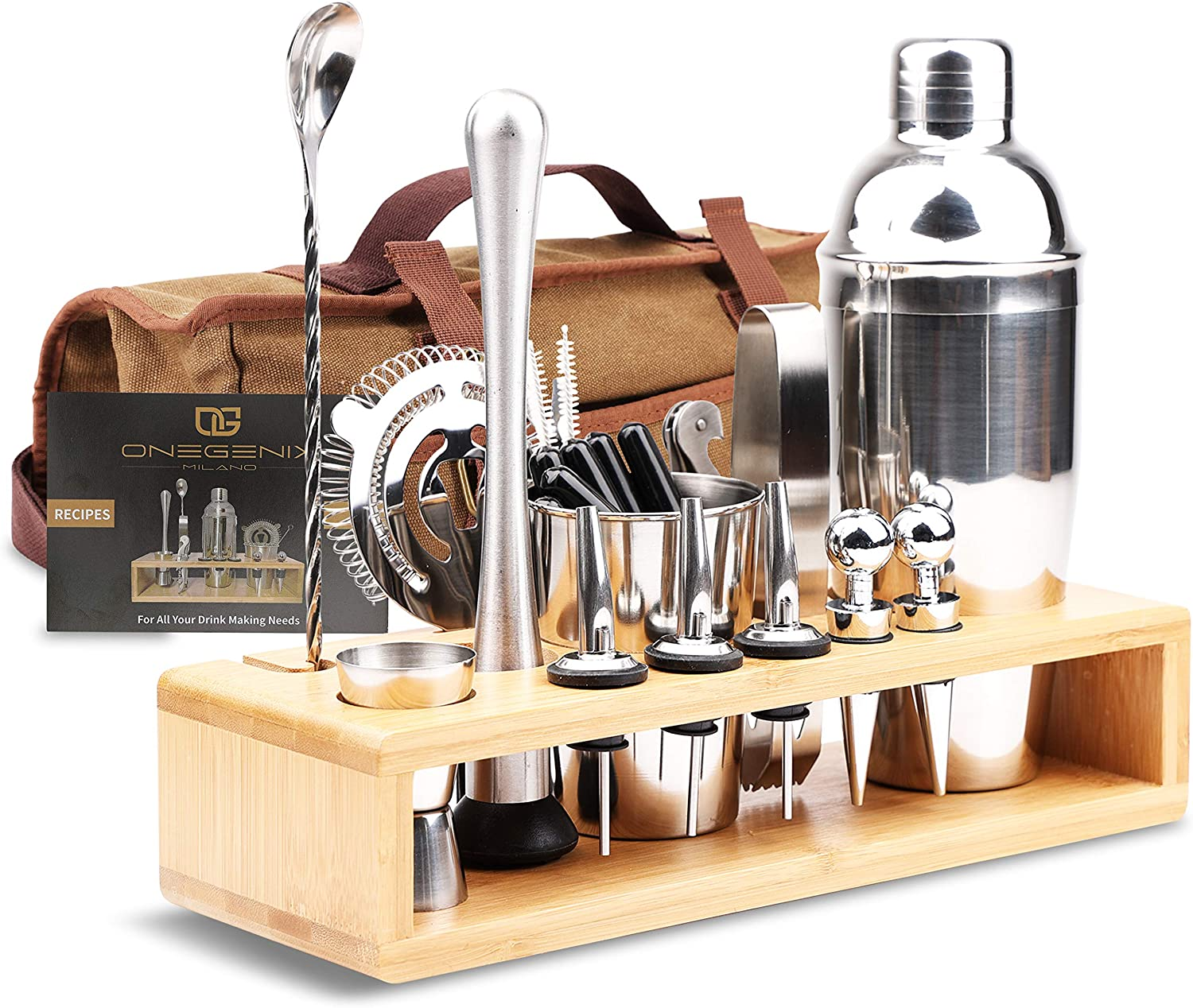 Cocktail Shaker Bartender Kit 21+3 | Premium Bartendering Kit Stainless Steel Set w/ Wood Stand & Travel Bag | Home Bar Kit w/ Mixer, Strainer & many Accessories w/ Recipe Book for Margarita, Martini!