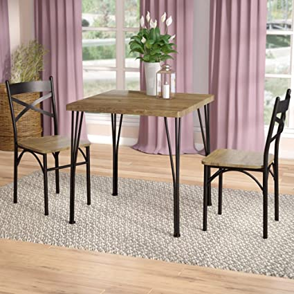 Industrial Dining Set   3 Piece Space Saving Kitchen Bistro For 2 Person    Rustic Wood