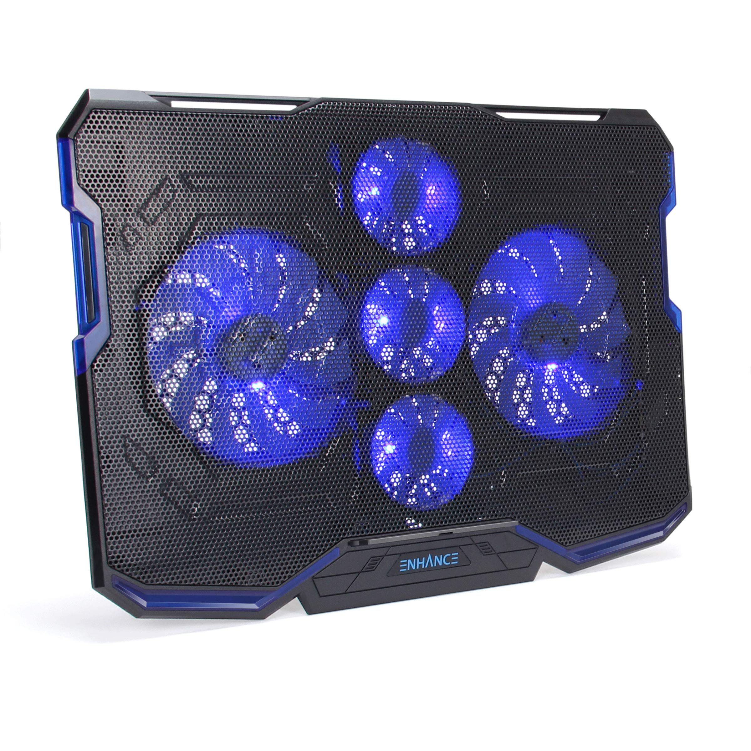ENHANCE Cryogen Gaming Laptop Cooling Pad - Fits up to 17 inch Computer - Adjustable Laptop Cooling Stand with 5 Ultra Quiet Cooler Fans, 2 USB Ports and LED Lighting - Slim Portable Design 2500 RPM