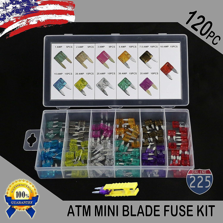 New 120pc MINI Blade Fuse Assortment Auto Car Motorcycle SUV FUSES Kit APM ATM