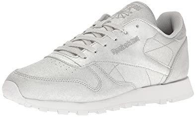 Womens Cl Lthr Syn Fashion Sneaker, Diamond-Silver Metallic/Snow Grey/White, 7 M US Reebok
