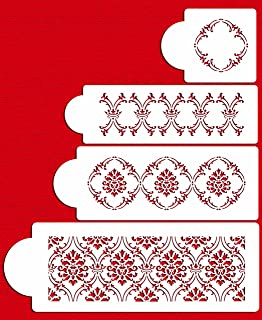 Designer Stencils C760 French Medallion Lattice Cake Stencil Beige//semi-transparent