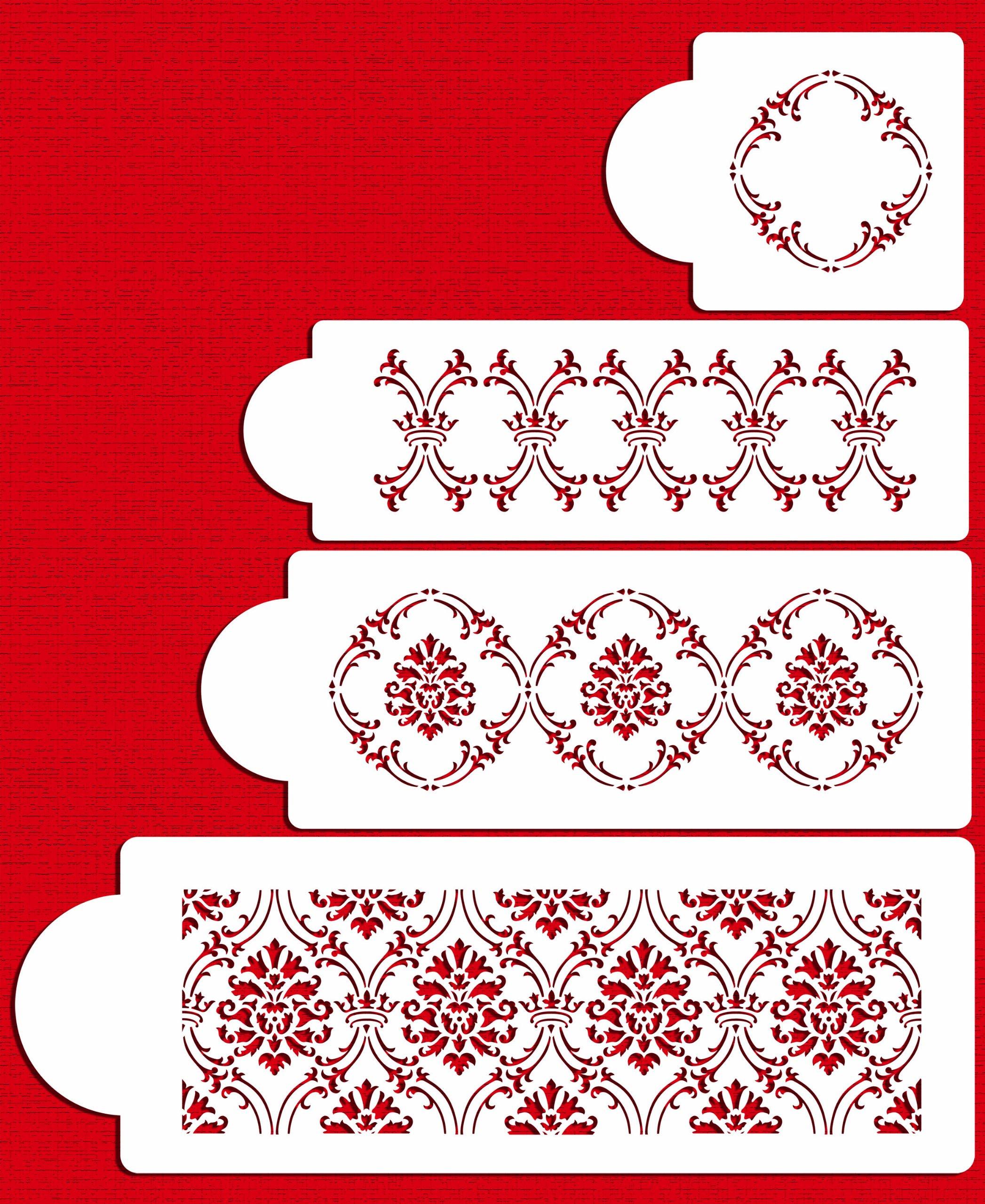 Designer Stencils C702 Royal Damask Cake Stencil Set, Beige/semi-transparent