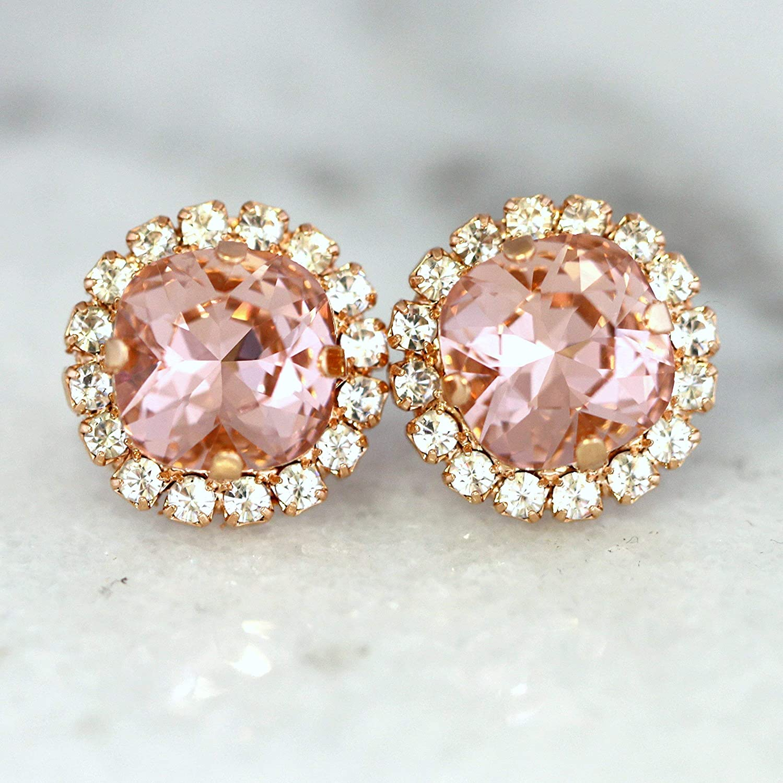 Pink Flower Bridal Earrings with Crystal Drops Boho Rusti\u0441 Wedding Style Unusual Gift Spring Transparent Flower resin art Wrapping Miruku
