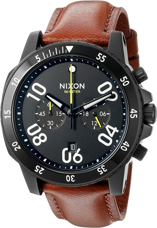 Nixon Men s A940712-00 Ranger Chrono Leather Analog Display Quartz Gold Watch