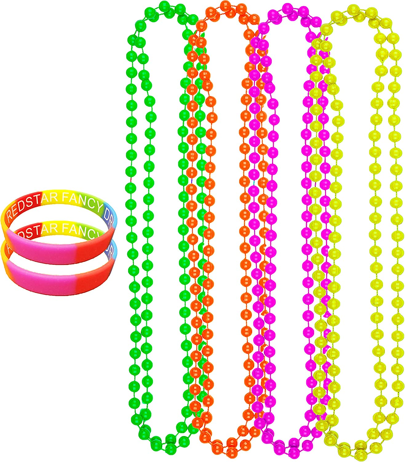 24 X Rainbow Bead Necklaces Party Bag Fillers Fancy Dress 80's # Festival