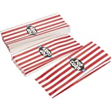 Set of 100 Mini Paper Popcorn Bags - Single Serving Carnival Popcorn Sleeves, Party Supplies for Movie Nights, Birthday, Baby Shower, Classic Red and White Stripes Design, 11.8 x 4.5 x 1.2 Inches