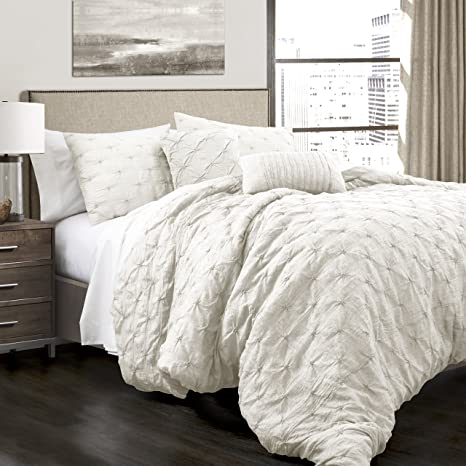 lush decor ravello shabby chic style pintuck white 5 piece comforter set with pillow shams king comforter set