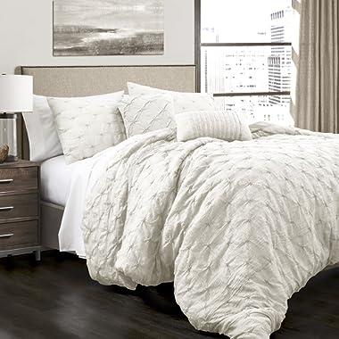 Lush Decor Lush Décor Ravello Pintuck Comforter Set (5 Piece), King, White