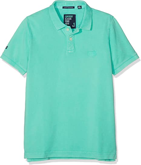 Superdry Vintage Destroy S/s Pique Polo, Turquesa (Awesome Mint ...