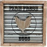 """Barnyard Designs Farm Fresh Eggs Wooden Framed Box Sign with Glass Paneling and Corrugated Sheet Metal Backing 