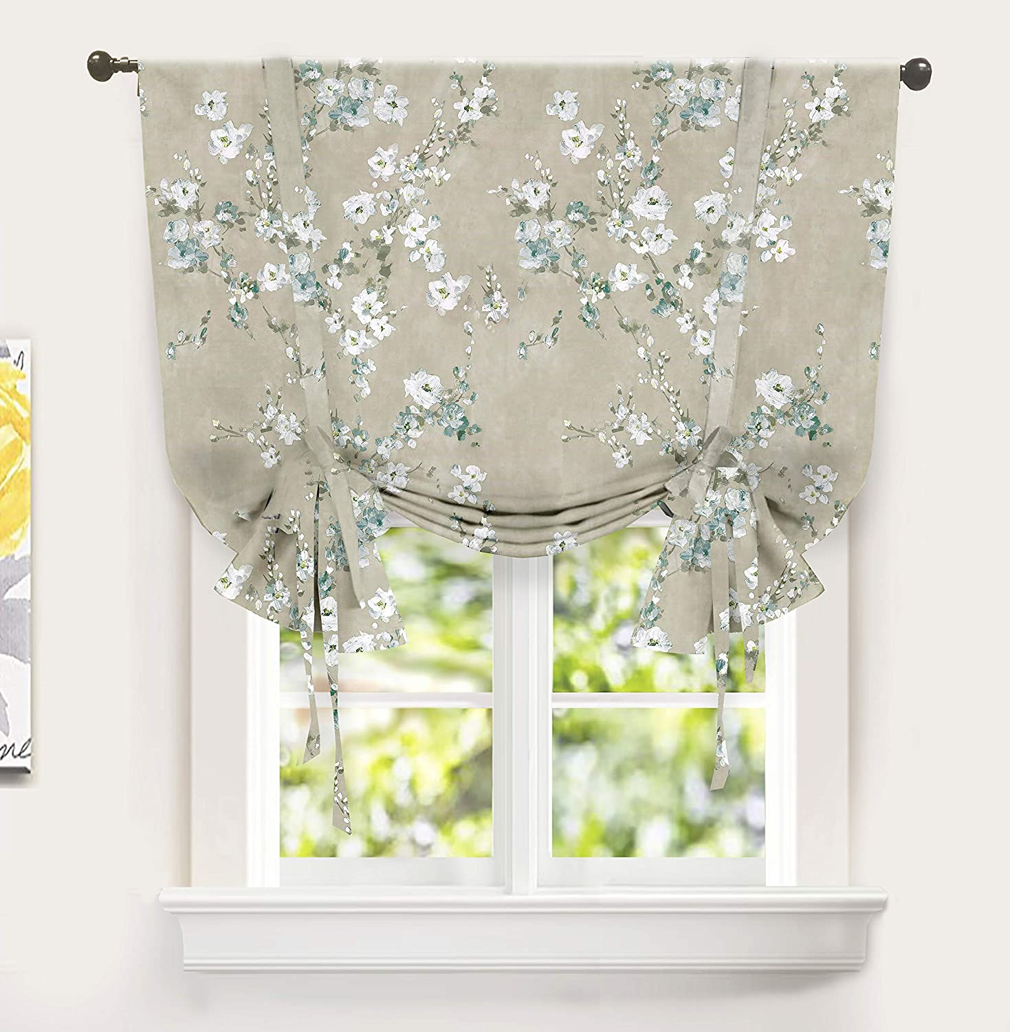 DriftAway Mackenzie Tie Up Curtain Blossom Floral Pattern Room Darkening Thermal Insulated Window Curtain Adjustable Balloon Curtain for Small Window Rod Pocket 45 Inch by 63 Inch Blue Gray