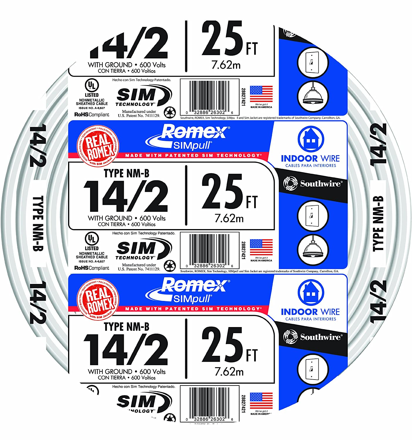 Southwire 28827421 25u0027 14/2 With Ground Romex Brand SIMpull Residential  Indoor Electrical Wire