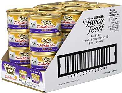 Fancy Feast Delights with Cheddar Turkey Wet Cat Food, Adult, 24x85g