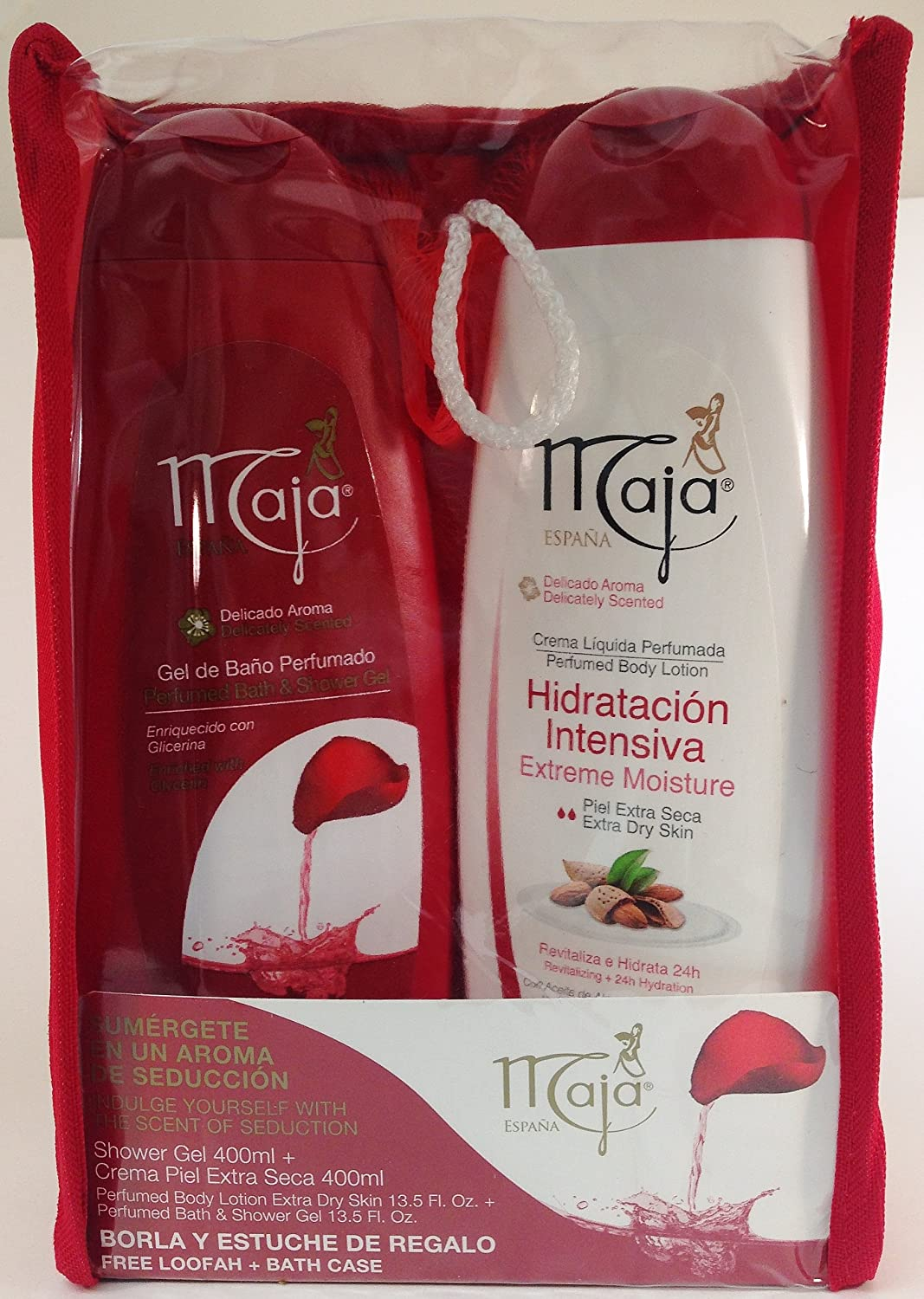 Maja Gift Set (Bath Gel 13.5 Oz. & Body Lotion 13.5 Oz.) With Free Loofah-Borla Y Estuche Regalo