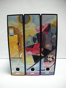 kaos-Juego de 3 archivadores de palanca A4 decorados con la obra AMARILLO, ROJO, AZUL De Kandinskij de Van Gogh: Amazon.es: Electrónica