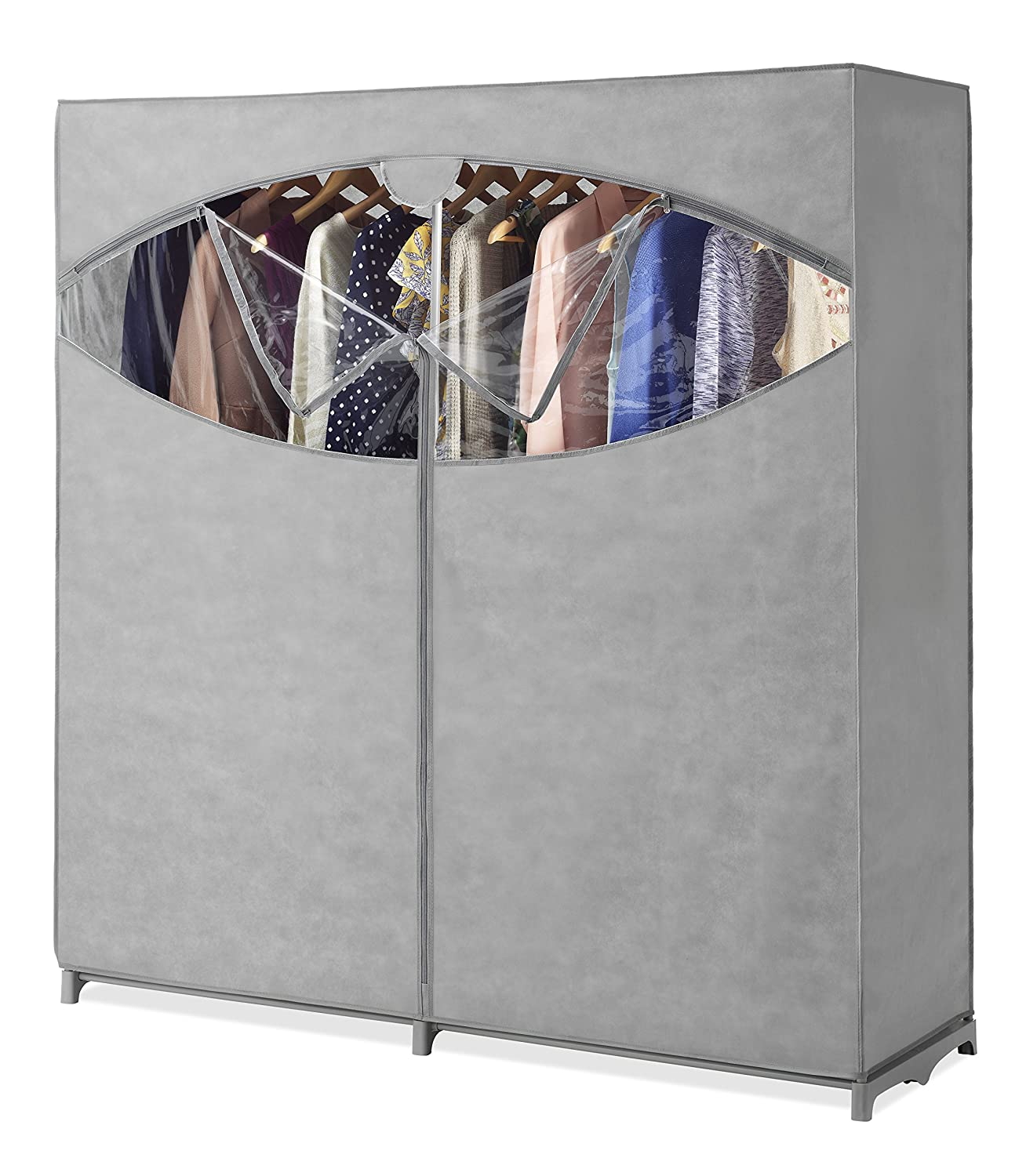 Whitmor Portable Wardrobe Clothes Storage Organizer Closet with Hanging Rack - Extra Wide -Grey Color - No-tool Assembly - Extra Strong & Durable - 60L x 19.5W x 64