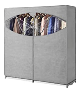 "Whitmor Portable Wardrobe Clothes Storage Organizer Closet with Hanging Rack - Extra Wide -Grey Color - No-tool Assembly - Extra Strong & Durable - 60""L x 19.5""W x 64"""