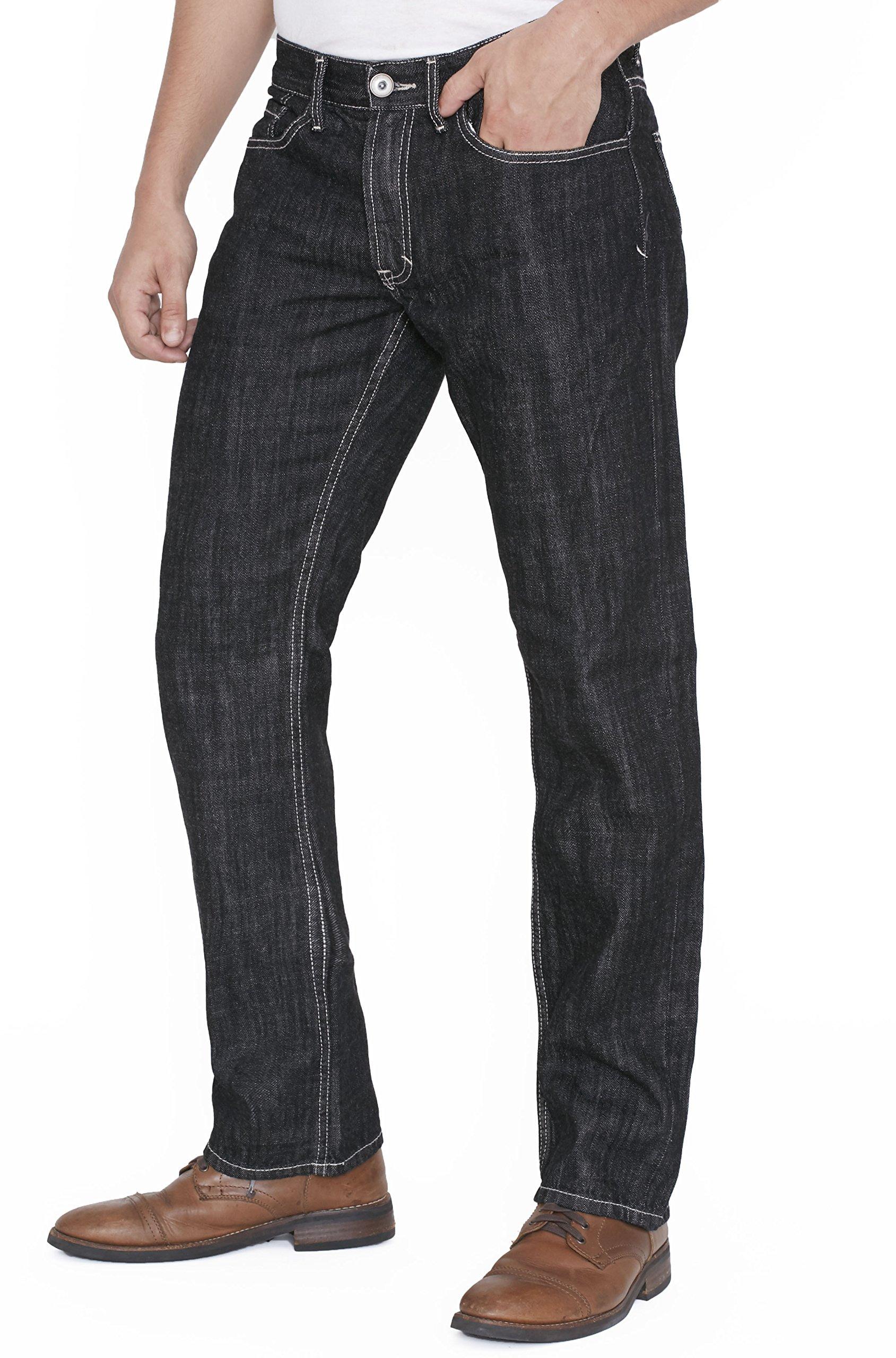 New York Avenue Men's Slim Fit Black Jeans – Comfortable Straight Cut