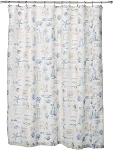 LORRAINE HOME FASHIONS by The Sea Shower Curtain, 70 by 72-Inch