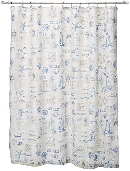 Amazon LORRAINE HOME FASHIONS By The Sea Shower Curtain 70