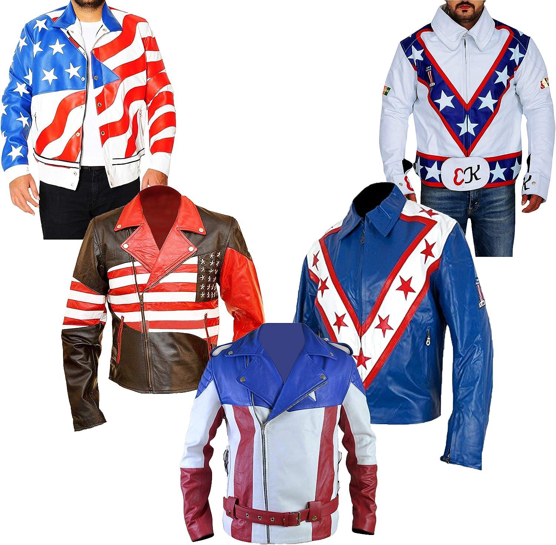 Western Fashions Chaqueta de Cuero Estilo Americano de la Bandera de EE. UU.