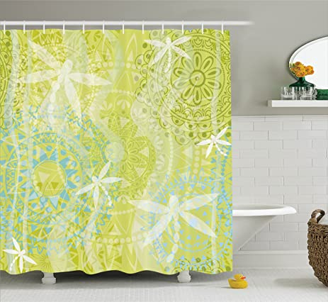 Country Decor Shower Curtain Set By Ambesonne, Dragonfly Silhouettes Over  Round Ethnic Mandala Circles Oriental
