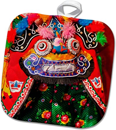 3dRose phl/_252768/_1 Pot Holder The Chinese dragon with floral elements 8 by 8